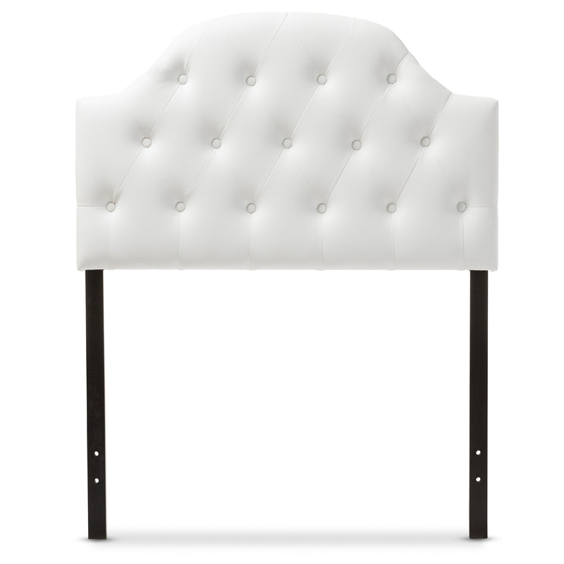Morris   White   Leather Upholstered Button-Tufted Scalloped Twin Size Headboard