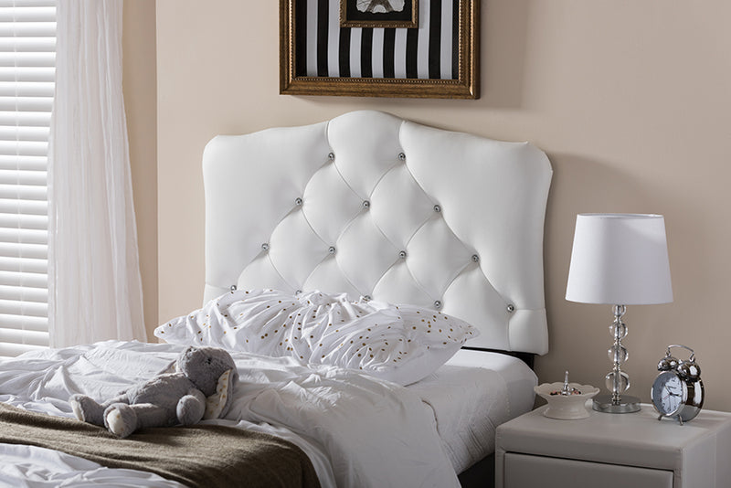 Rita   White   Leather Upholstered Button-Tufted Scalloped Twin Size Headboard