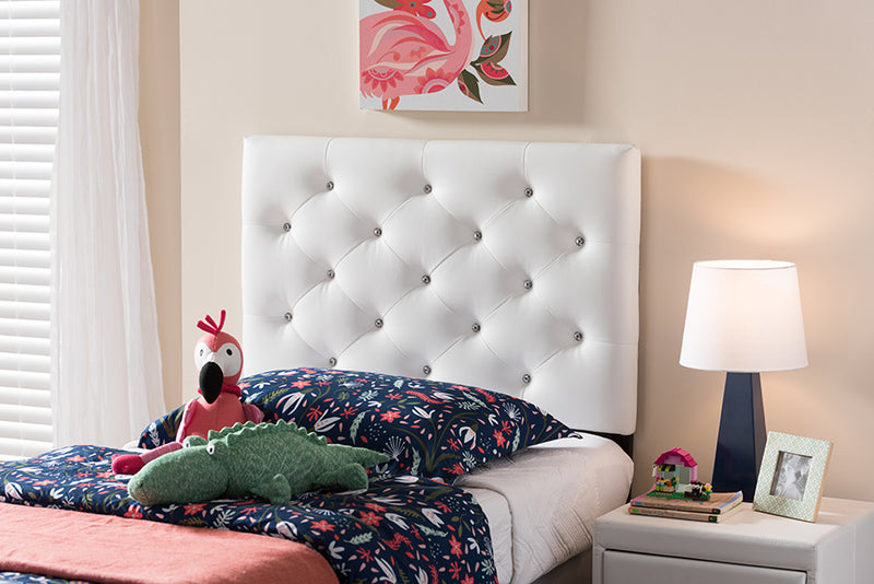 Viviana   White   Leather Upholstered Button-Tufted Twin Size Headboard