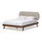 Penelope   Solid Walnut Wood Light Beige   Queen Size Platform Bed