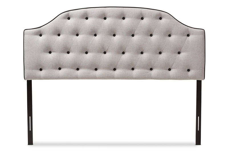 Windsor   Greyish Beige   Scalloped Buttoned Full Size Headboard