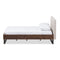 Mitchell   Walnut Wood Beige Fabric Dark Bronze Metal Full Size Platform Bed
