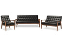 Sorrento Mid-century Retro Modern Black   Leather Upholstered Wooden 3 Piece Living room Set