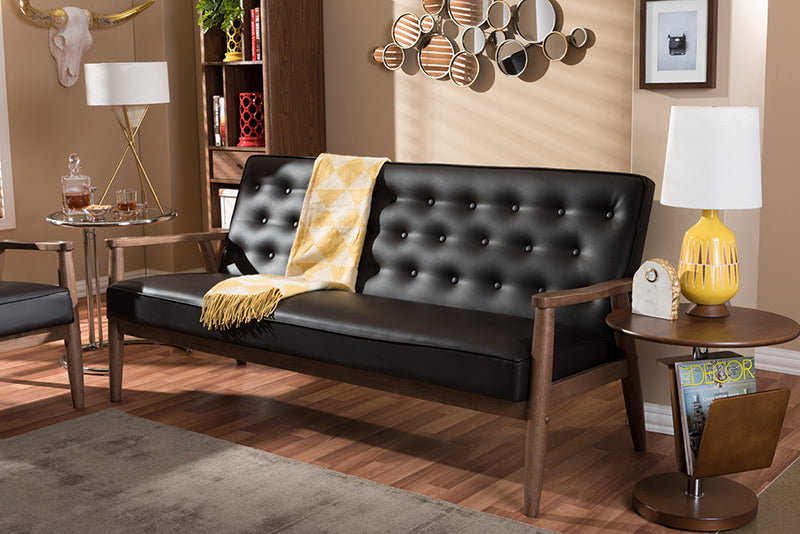 Sorrento Mid-century Retro Modern Brown   Leather Upholstered Wooden 3-seater Sofa