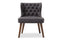 Scarlett   Brown Wood and Dark Grey   Button-Tufting with Nail Heads Trim 1-Seater Accent Chair