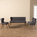 Scarlett   Walnut Brown Wood and Dark Grey   Button-Tufting with Nail Heads Trim Livingroom 3-Piece Sofa Set