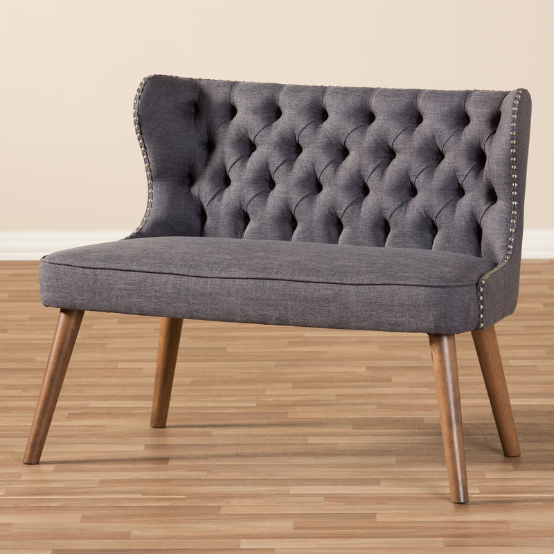 Scarlett   Brown Wood and Dark Grey   Button-Tufting with Nail Heads Trim 2-Seater Loveseat Settee
