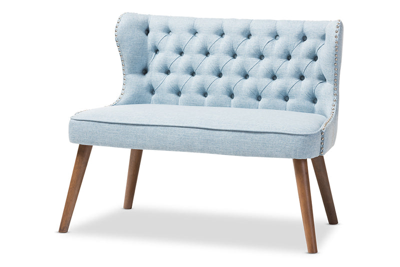 Scarlett   Brown Wood and Light Blue   Button-Tufting with Nail Heads Trim 2-Seater Loveseat Settee