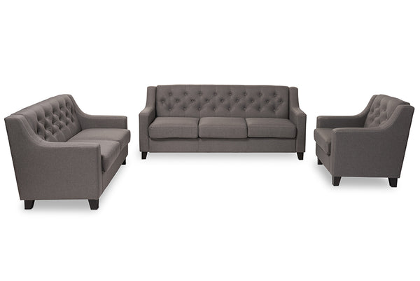 Arcadia Grey Tufted 3-Piece Sofa Set