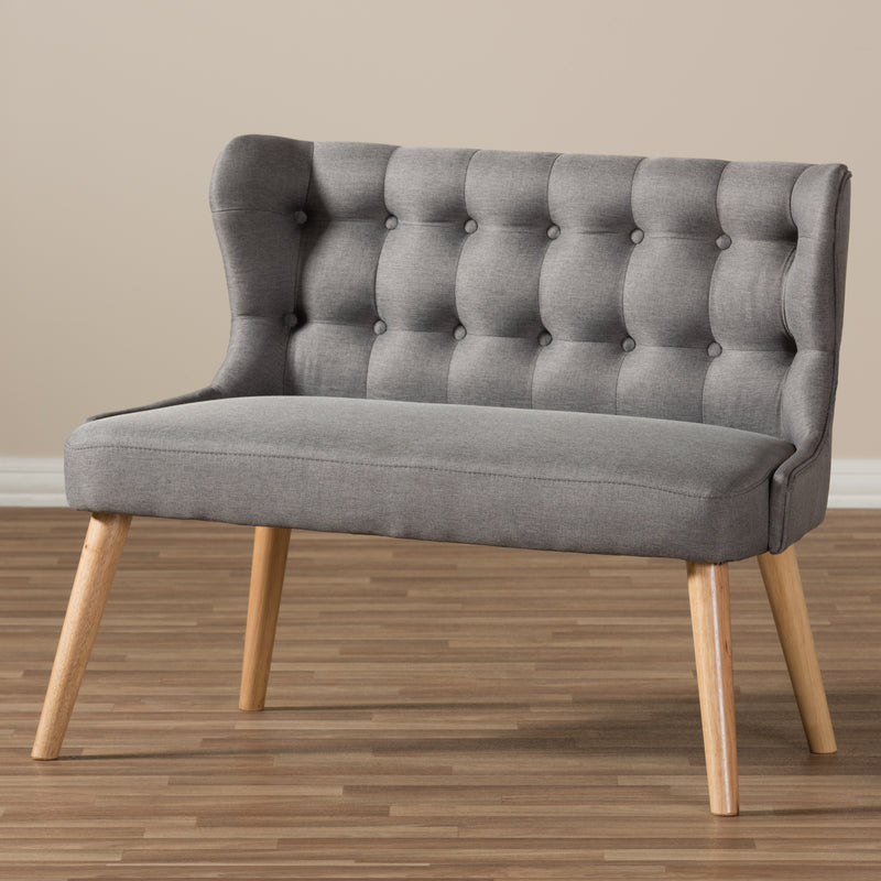 Melody   Grey Fabric and Natural Wood Finishing 2-Seater Settee Bench