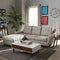 Mckenzie Mid-Century Light Beige Fabric Button-Tufted 2-Piece Sectional Sofa