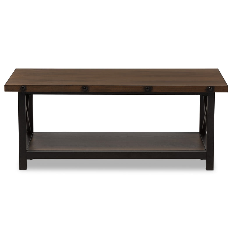 Herzen   Style Antique Black Textured Finished Metal Distressed Wood Occasional Cocktail Coffee Table