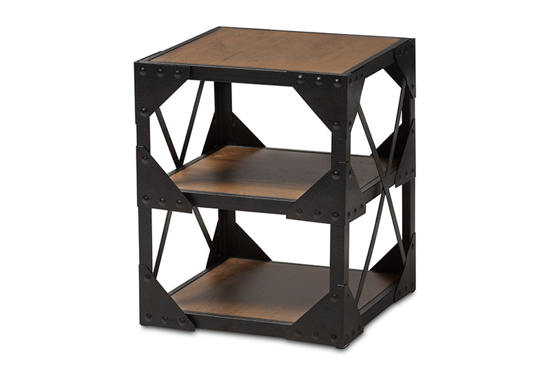 Hudson   Style Antique Black Textured Finished Metal Distressed Wood Occasional Side Table