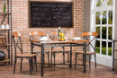 Broxburn Light Brown Wood & Metal 5-Piece Dining Set
