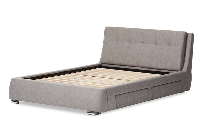 Camile   Grey   4-Drawer King Size Storage Platform Bed