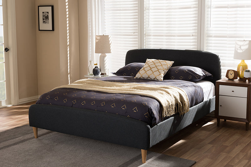 Mia Mid-Century Charcoal Grey   Full Size Platform Bed