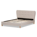 Laureo Mid-Century Light Beige   Queen Size Platform Bed