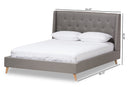 Adelaide Light Grey Queen Size Platform Bed