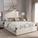 Taylor   Light Beige Fabric Queen Size Gas-Lift Platform Bed