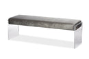 Hildon   Grey Microsuede   Lux Bench with Paneled Acrylic Legs