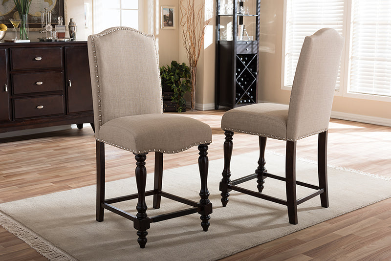 Zachary Chic French Vintage Oak Brown Beige Linen   Counter Height Dining Chair (Set of 2)