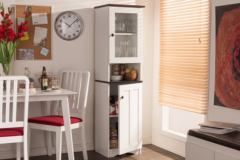 Lauren   Two-tone White and Dark Brown Buffet and Hutch Kitchen Cabinet