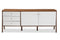 Harlow Mid-century Modern Scandinavian Style White and Walnut Wood Sideboard Storage Cabinet