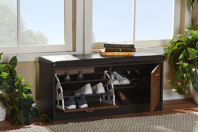 Foley   2-tone Dark Brown and Oak Finishing Entryway Storage Cushioned Bench Shoe Rack Cabinet Organizer