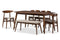 "Flora   Light Grey Fabric and ""Oak"" Medium Brown Finishing Wood 6-Piece Dining Set"