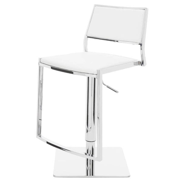 AARON WHITE ADJUSTABLE STOOL SILVER BASE