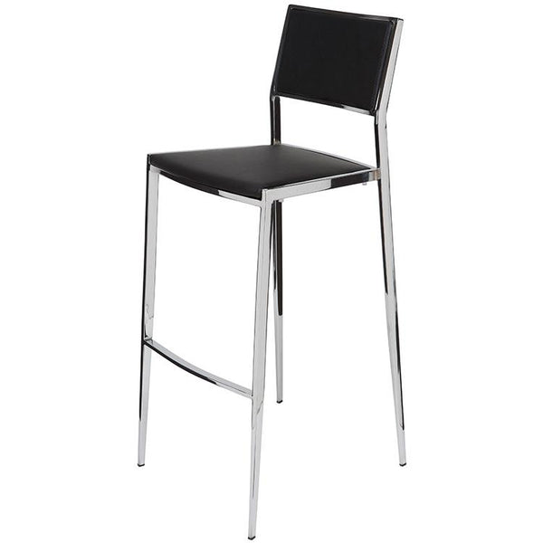 AARON BLACK COUNTER STOOL SILVER FRAME