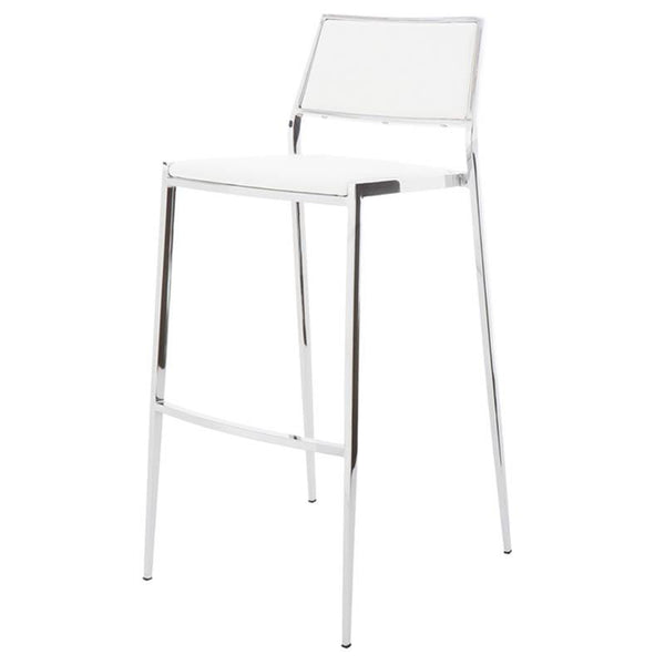 AARON WHITE COUNTER STOOL SILVER FRAME