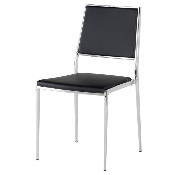 AARON BLACK DINING CHAIR SILVER FRAME