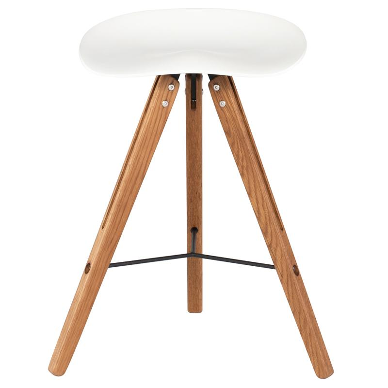 Theo Tractor Stool White Counter Stool Hard Fumed Frame