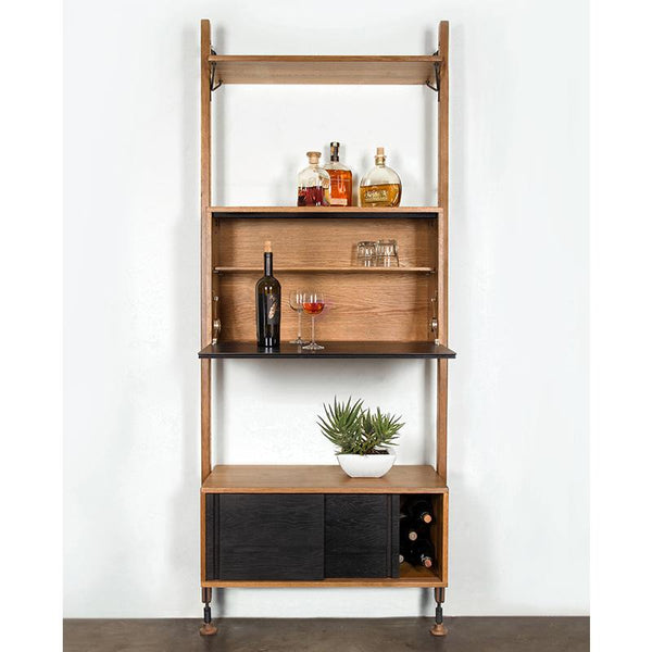 THEO HARD FUMED MODULAR SHELVING BLACK HARDWARE