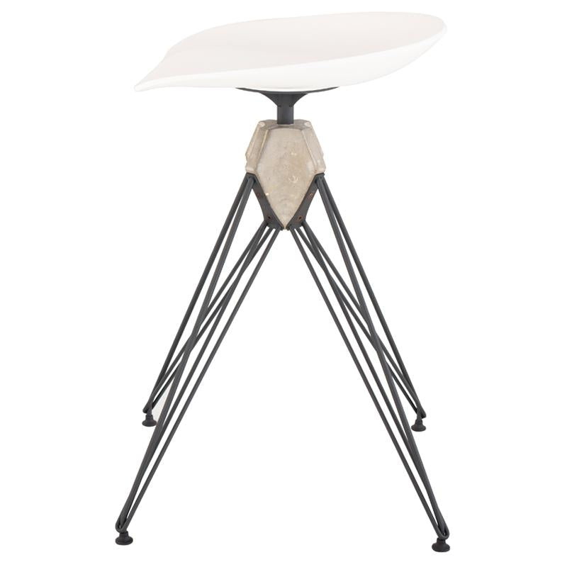 Kahn White Counter Stool Black Base