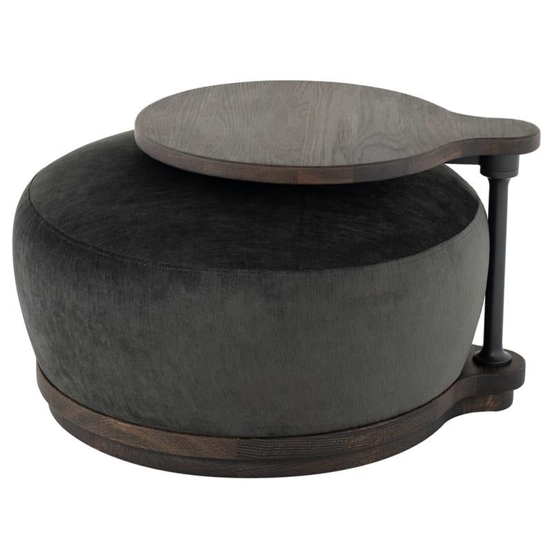 Orbit Pewter Ottoman Chair Seared Frame