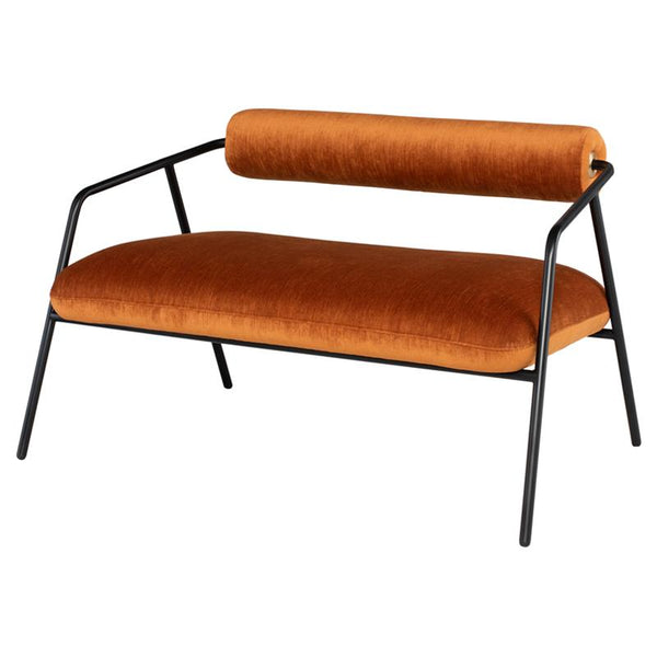 Cyrus Rust Double Seat Sofa Black Frame