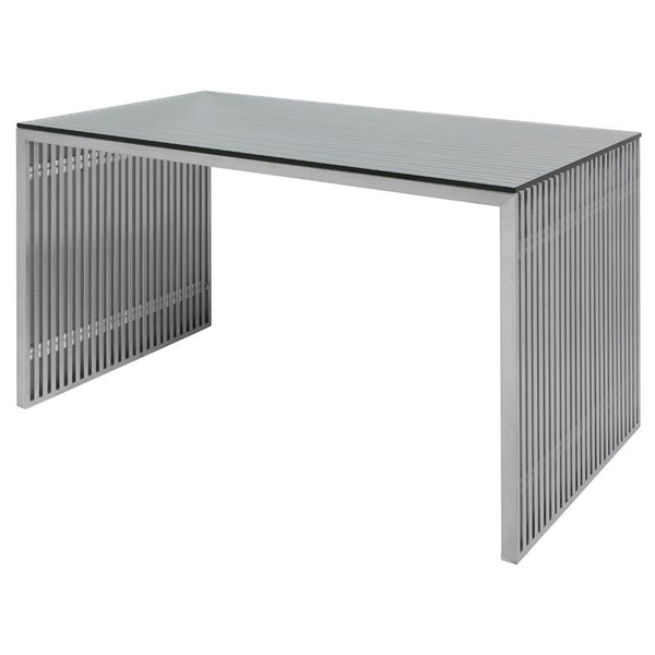AMICI SILVER DESK TABLE GLASS TOP