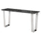 CATRINE BLACK WOOD VEIN CONSOLE TABLE SILVER LEGS