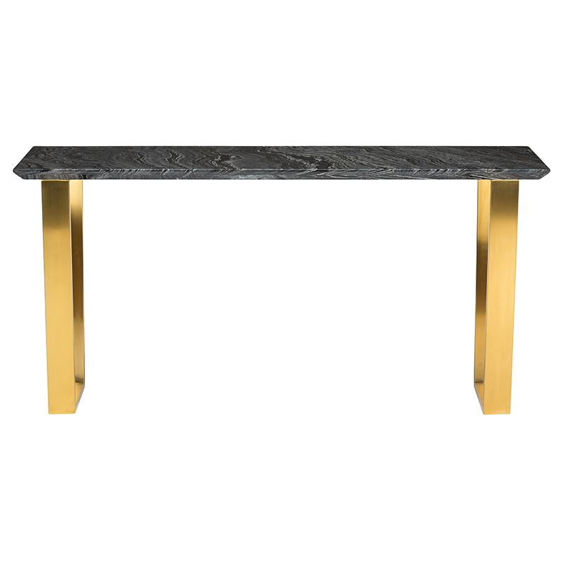 CATRINE BLACK WOOD VEIN CONSOLE TABLE GOLD LEGS