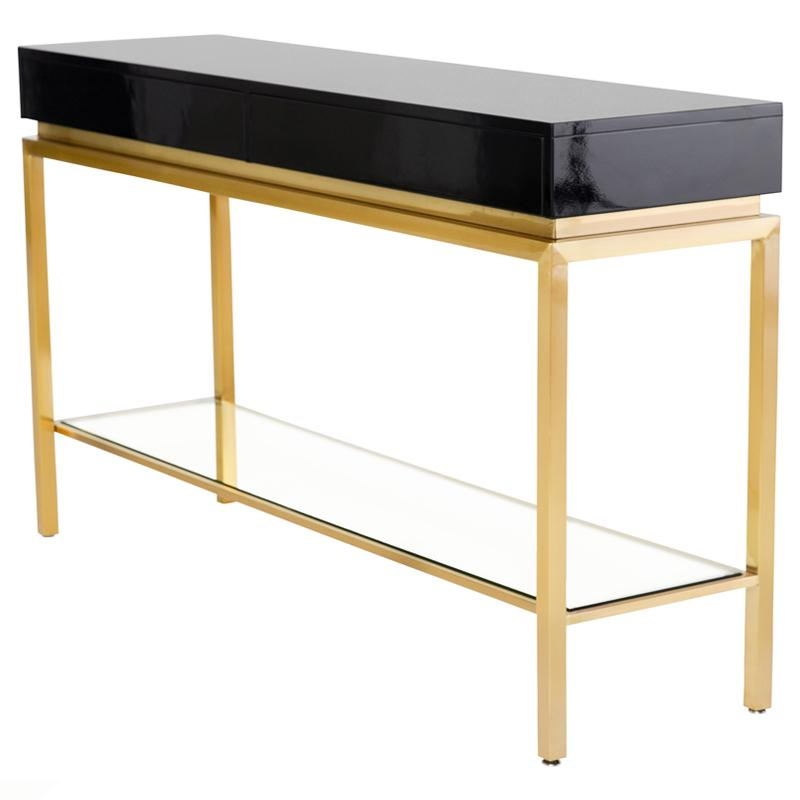 ISABELLA BLACK CONSOLE TABLE GOLD LEGS