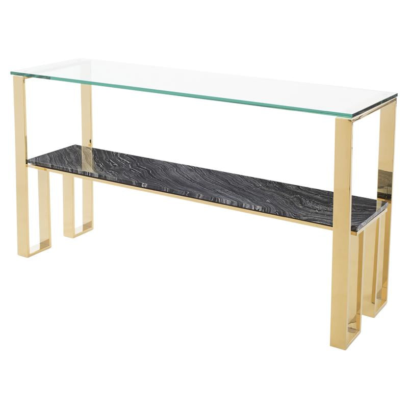TIERRA BLACK WOOD VEIN CONSOLE TABLE GOLD BASE