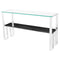TIERRA BLACK WOOD VEIN CONSOLE TABLE SILVER BASE