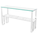 TIERRA WHITE CONSOLE TABLE SILVER BASE