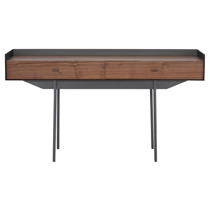 EGON WALNUT CONSOLE TABLE TITANIUM BASE