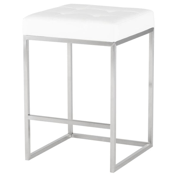 CHI WHITE COUNTER STOOL SILVER FRAME