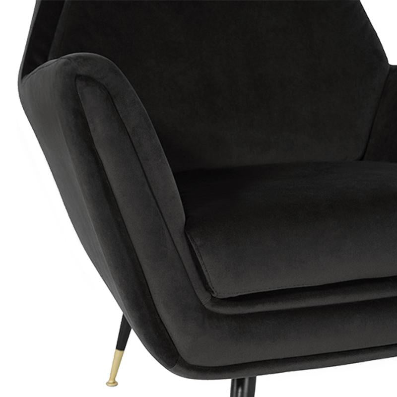 VANESSA SHADOW GREY OCCASIONAL CHAIR BLACK LEGS