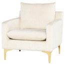 ANDERS COCONUT SINGLE SEAT SOFA GOLD LEGS