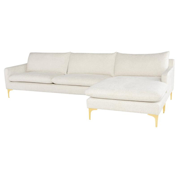 ANDERS COCONUT SECTIONAL SOFA GOLD LEGS